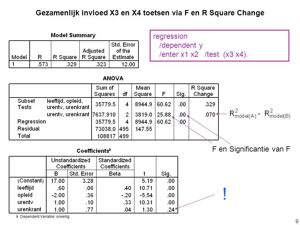 9 Gezamenlijk invloed X3 en X4 toetsen via F en R Square Change regression /dependent y /enter x1 x2 /test (x3 x4). F en Significantie van F !