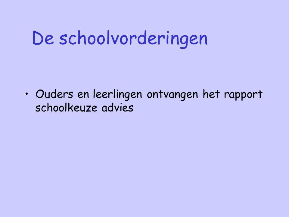 De schoolvorderingen Ouders en leerlingen ontvangen het rapport schoolkeuze advies