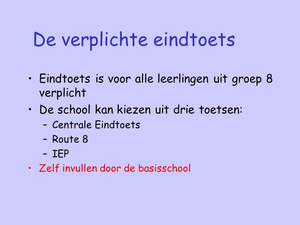 De verplichte eindtoets Eindtoets is voor alle leerlingen uit groep 8 verplicht De school kan kiezen uit drie toetsen: –Centrale Eindtoets –Route 8 –I