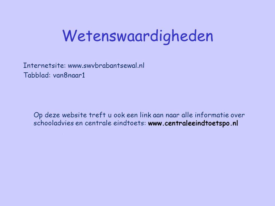 Wetenswaardigheden Internetsite: www.swvbrabantsewal.nl Tabblad: van8naar1 Op deze website treft u ook een link aan naar alle informatie over schoolad