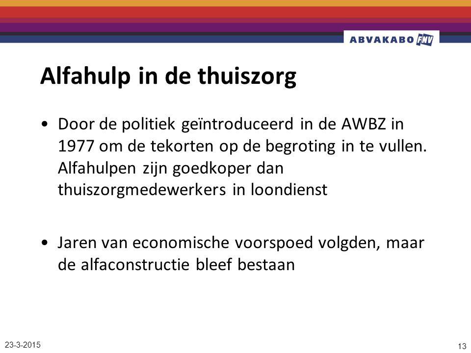 Alfahulp in de thuiszorg Door de politiek geïntroduceerd in de AWBZ in 1977 om de tekorten op de begroting in te vullen.