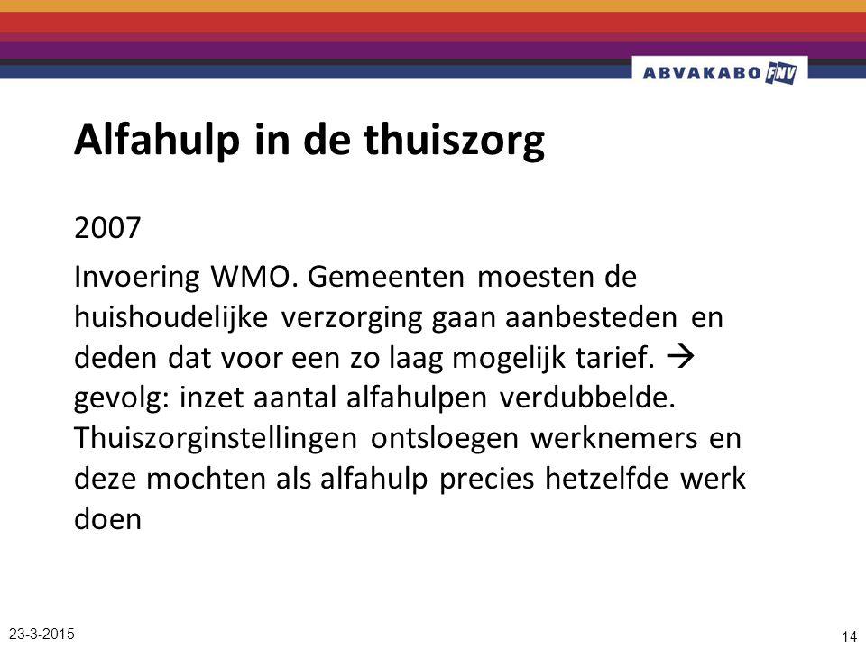 Alfahulp in de thuiszorg 2007 Invoering WMO.