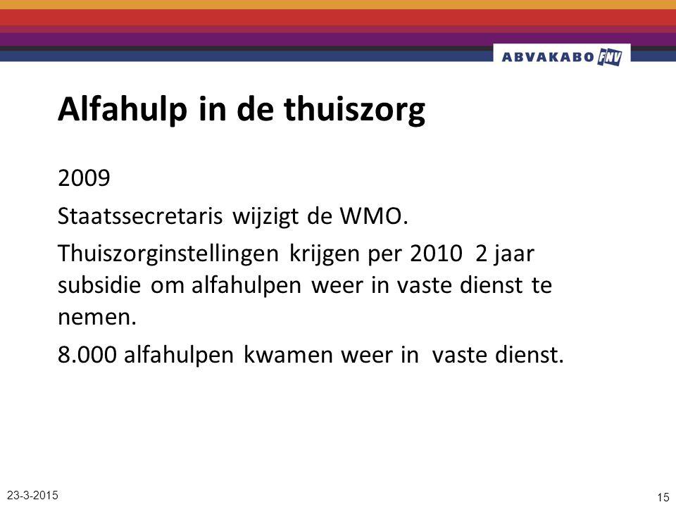 Alfahulp in de thuiszorg 2009 Staatssecretaris wijzigt de WMO.