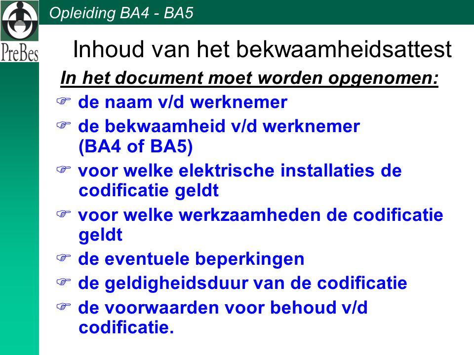 Opleiding BA4 - BA5 Inhoud van het bekwaamheidsattest In het document moet worden opgenomen:  de naam v/d werknemer  de bekwaamheid v/d werknemer (B