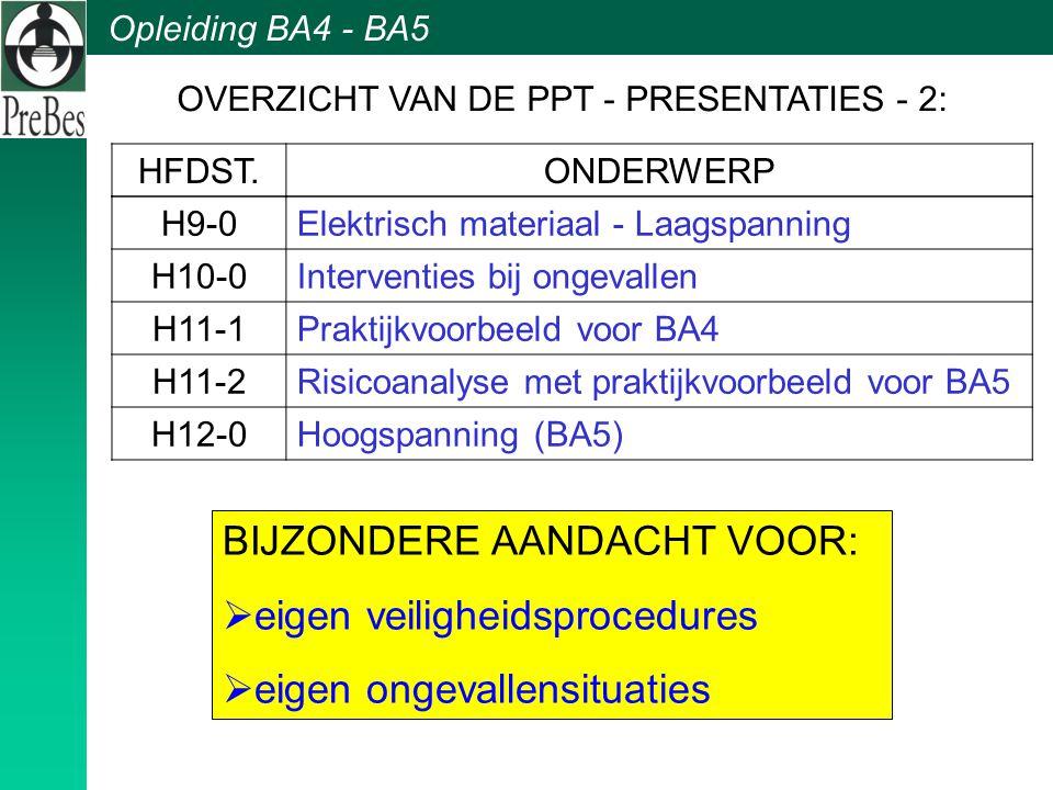 Opleiding BA4 - BA5 BIJZONDERE AANDACHT VOOR:  eigen veiligheidsprocedures  eigen ongevallensituaties H9-0Elektrisch materiaal - Laagspanning H10-0I