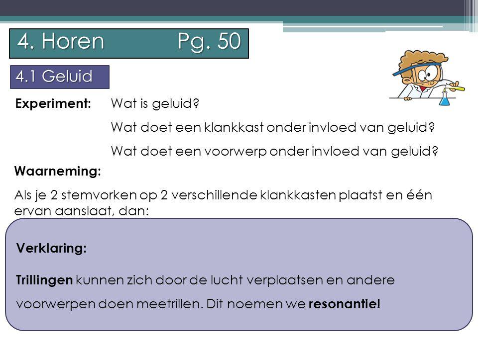 P.Feys - Sint – Jorisschool Menen 4. Horen Pg. 50 4.1 Geluid Experiment: Wat is geluid.