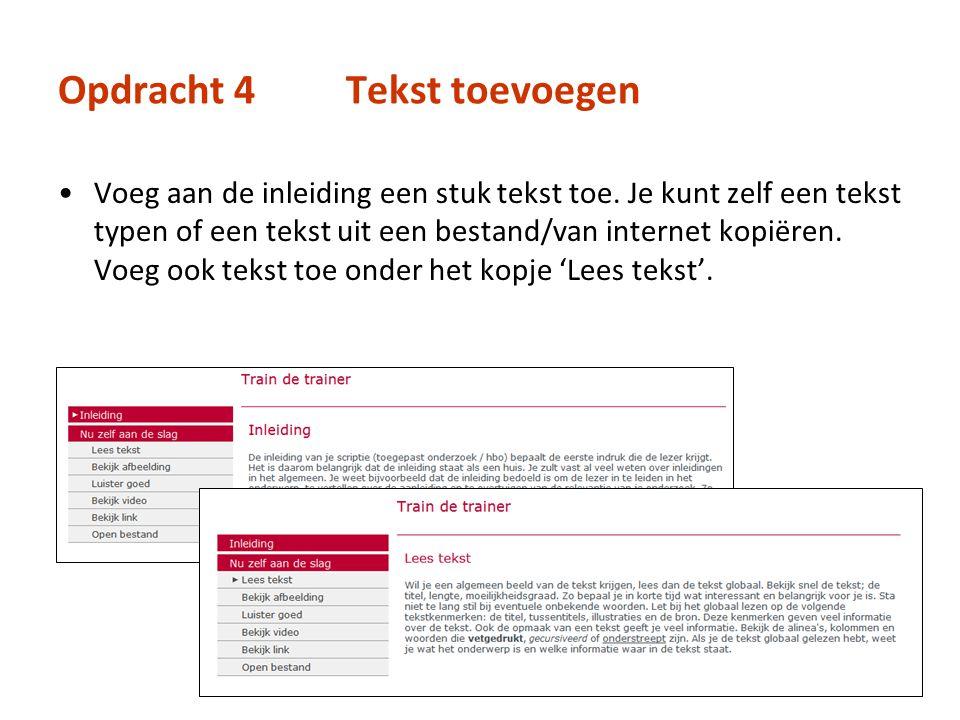 Opdracht 4Tekst toevoegen Voeg aan de inleiding een stuk tekst toe. Je kunt zelf een tekst typen of een tekst uit een bestand/van internet kopiëren. V