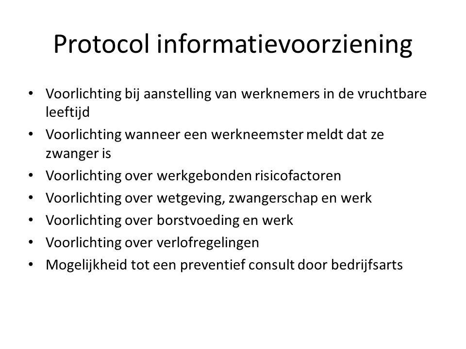 Protocol informatievoorziening Voorlichting bij aanstelling van werknemers in de vruchtbare leeftijd Voorlichting wanneer een werkneemster meldt dat z