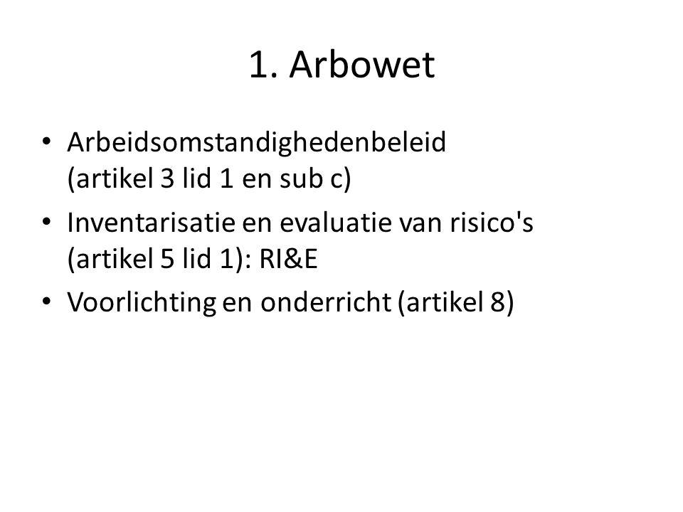 1. Arbowet Arbeidsomstandighedenbeleid (artikel 3 lid 1 en sub c) Inventarisatie en evaluatie van risico's (artikel 5 lid 1): RI&E Voorlichting en ond