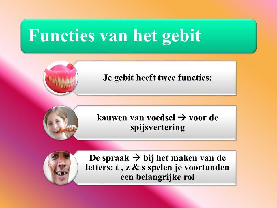 Functies van het gebit Je gebit heeft twee functies: kauwen van voedsel  voor de spijsvertering De spraak  bij het maken van de letters: t, z & s sp