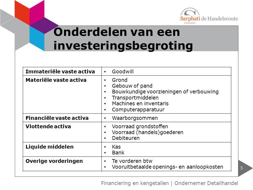 3 Financiering en kengetallen | Ondernemer Detailhandel Onderdelen van een investeringsbegroting Immateriële vaste activa Goodwill Materiële vaste act