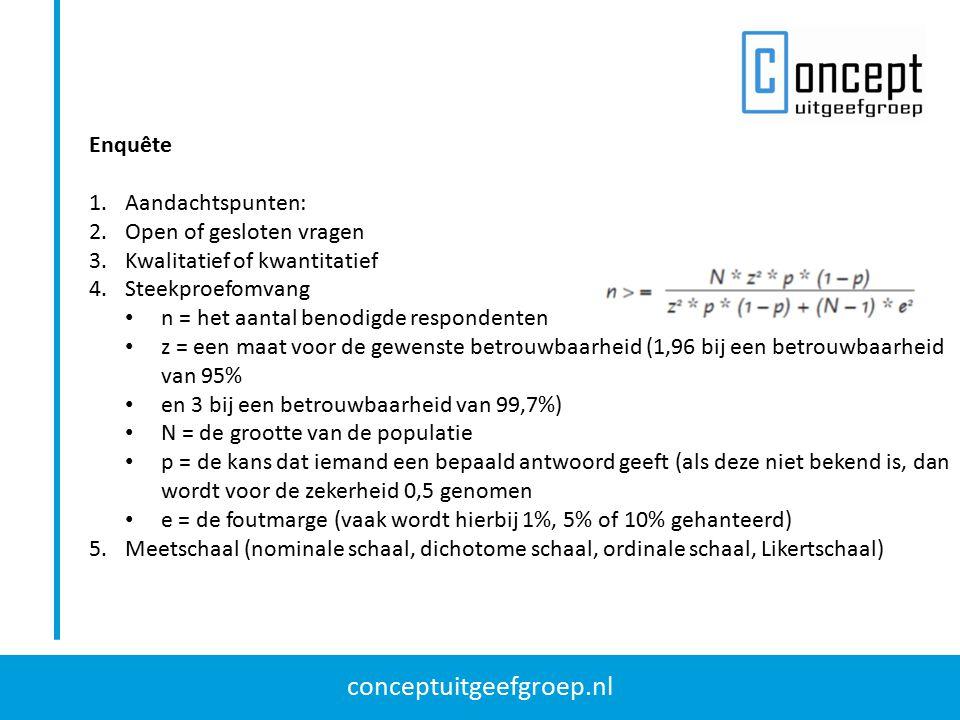conceptuitgeefgroep.nl Enquête 1.Aandachtspunten: 2.Open of gesloten vragen 3.Kwalitatief of kwantitatief 4.Steekproefomvang n = het aantal benodigde