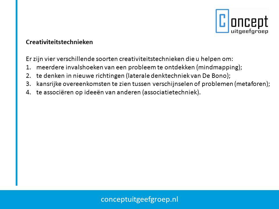 conceptuitgeefgroep.nl Creativiteitstechnieken Er zijn vier verschillende soorten creativiteitstechnieken die u helpen om: 1.meerdere invalshoeken van