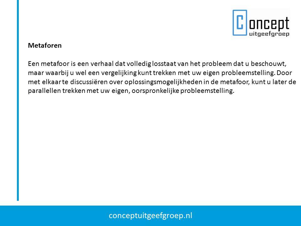 conceptuitgeefgroep.nl Associatietechniek; 635-methode De 635-methode uitgewerkt in een vijfstappenplan: 1.Beschrijf de probleemstelling op de bovenste regel.