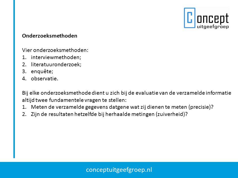 conceptuitgeefgroep.nl Onderzoeksmethoden Vier onderzoeksmethoden: 1.interviewmethoden; 2.literatuuronderzoek; 3.enquête; 4.observatie. Bij elke onder