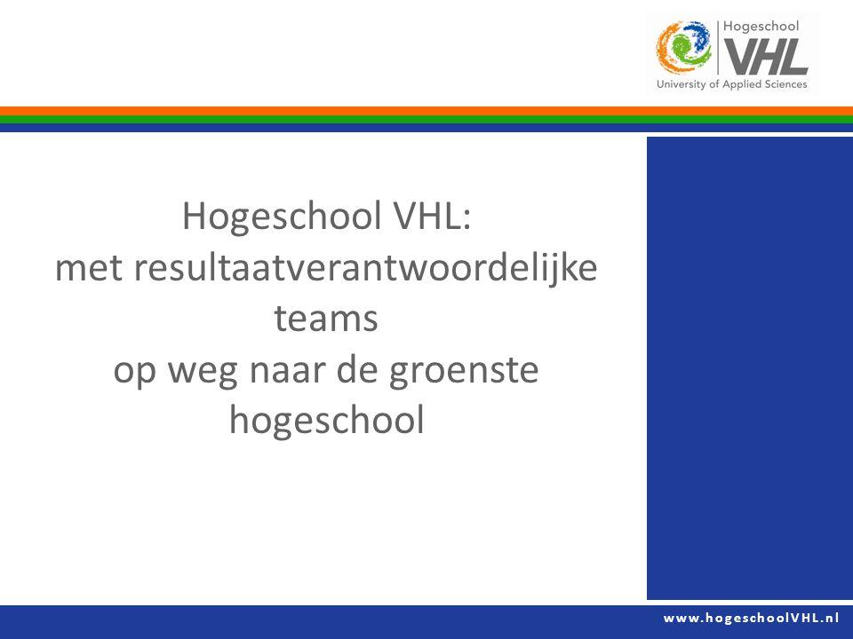 www.hogeschoolVHL.nl Hogeschool VHL: met resultaatverantwoordelijke teams op weg naar de groenste hogeschool