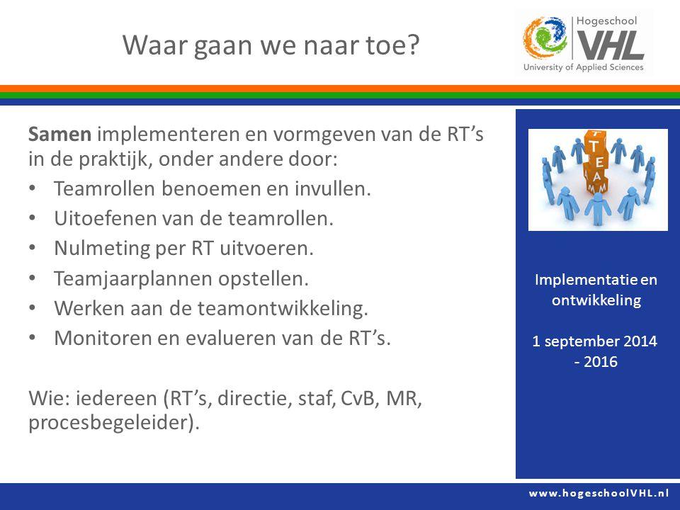 www.hogeschoolVHL.nl Samen implementeren en vormgeven van de RT's in de praktijk, onder andere door: Teamrollen benoemen en invullen.