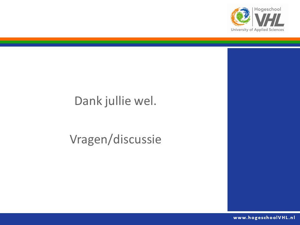 www.hogeschoolVHL.nl Dank jullie wel. Vragen/discussie