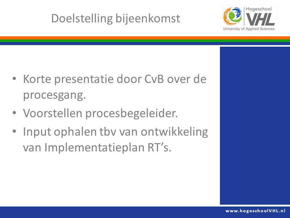 www.hogeschoolVHL.nl Korte presentatie door CvB over de procesgang.