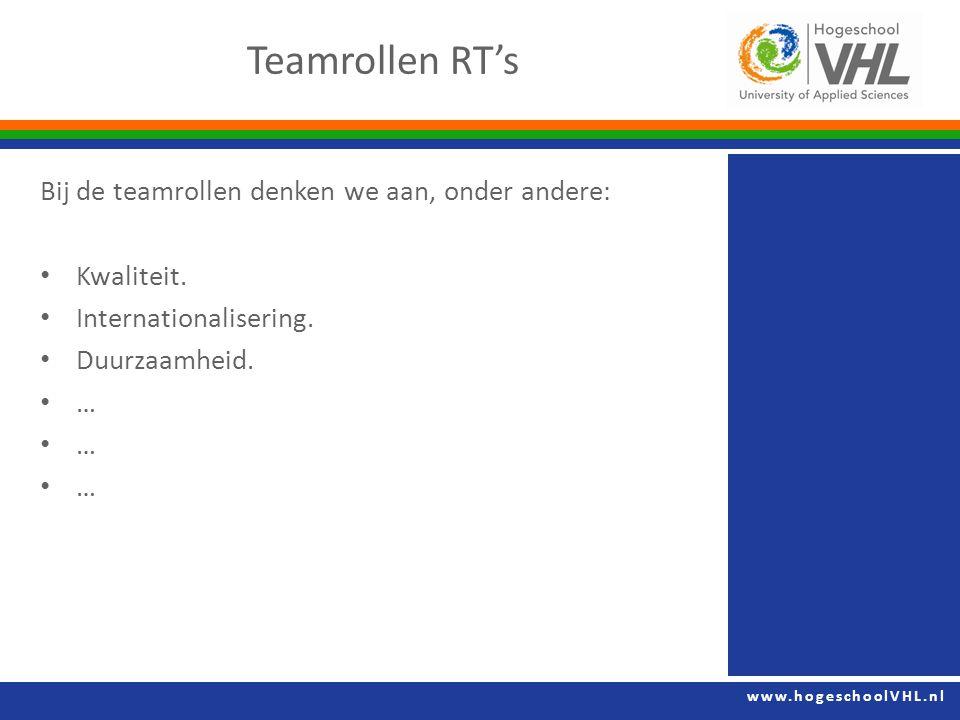 www.hogeschoolVHL.nl Bij de teamrollen denken we aan, onder andere: Kwaliteit.