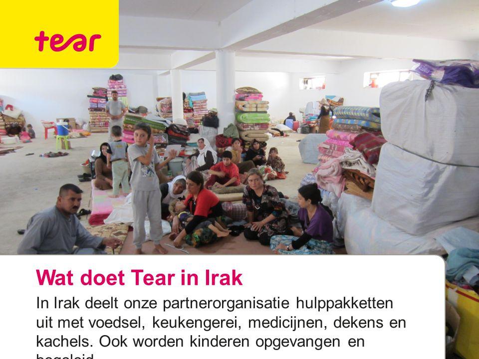 Wat doet Tear in Irak In Irak deelt onze partnerorganisatie hulppakketten uit met voedsel, keukengerei, medicijnen, dekens en kachels. Ook worden kind
