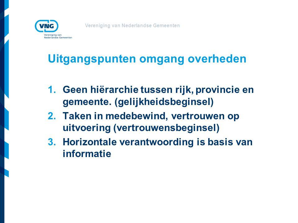 Vereniging van Nederlandse Gemeenten Uitgangspunten omgang overheden 1.Geen hiërarchie tussen rijk, provincie en gemeente. (gelijkheidsbeginsel) 2.Tak