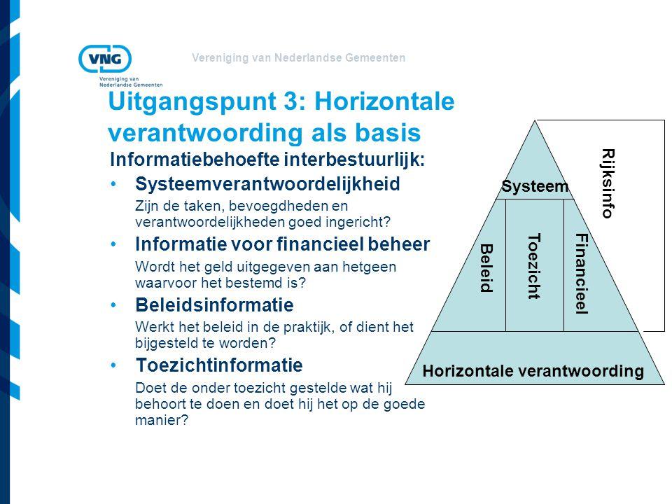 Vereniging van Nederlandse Gemeenten Uitgangspunt 3: Horizontale verantwoording als basis Informatiebehoefte interbestuurlijk: Systeemverantwoordelijk