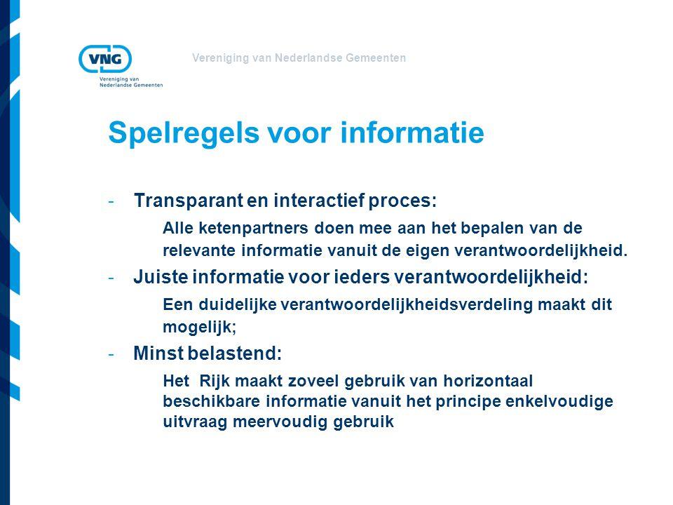 Vereniging van Nederlandse Gemeenten Spelregels voor informatie -Transparant en interactief proces: Alle ketenpartners doen mee aan het bepalen van de