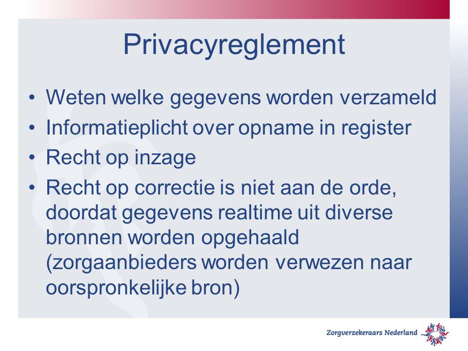 Privacyreglement Weten welke gegevens worden verzameld Informatieplicht over opname in register Recht op inzage Recht op correctie is niet aan de orde