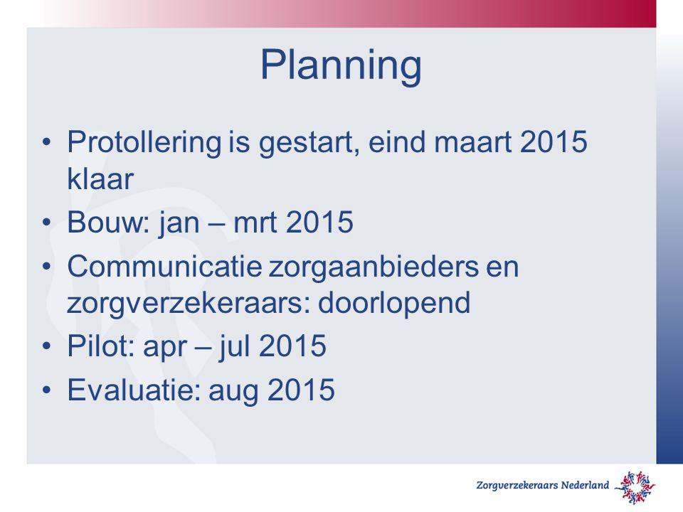 Planning Protollering is gestart, eind maart 2015 klaar Bouw: jan – mrt 2015 Communicatie zorgaanbieders en zorgverzekeraars: doorlopend Pilot: apr –
