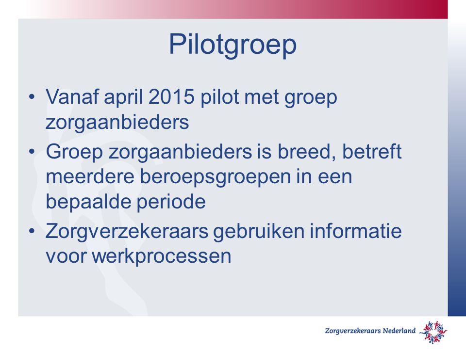 Pilotgroep Vanaf april 2015 pilot met groep zorgaanbieders Groep zorgaanbieders is breed, betreft meerdere beroepsgroepen in een bepaalde periode Zorg