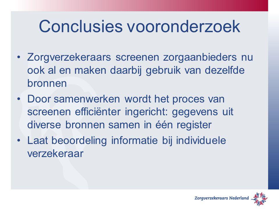 Conclusies vooronderzoek Zorgverzekeraars screenen zorgaanbieders nu ook al en maken daarbij gebruik van dezelfde bronnen Door samenwerken wordt het p