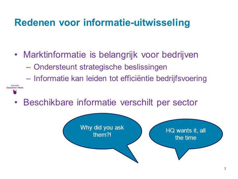 3 Redenen voor informatie-uitwisseling Marktinformatie is belangrijk voor bedrijven –Ondersteunt strategische beslissingen –Informatie kan leiden tot