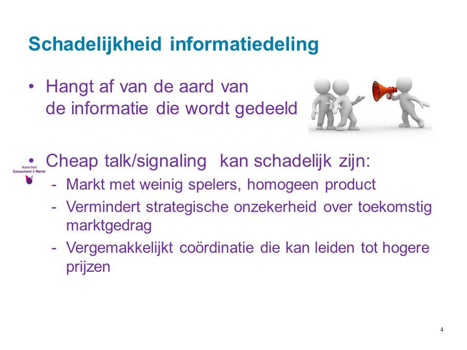4 Schadelijkheid informatiedeling Hangt af van de aard van de informatie die wordt gedeeld Cheap talk/signaling kan schadelijk zijn: -Markt met weinig