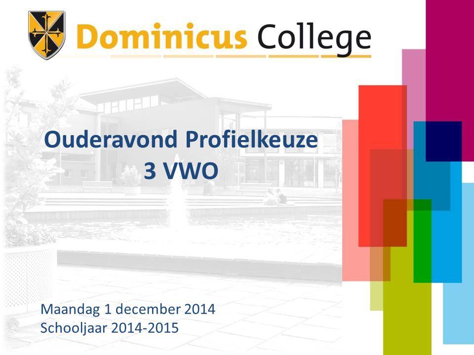 Ouderavond Profielkeuze 3 VWO Maandag 1 december 2014 Schooljaar 2014-2015