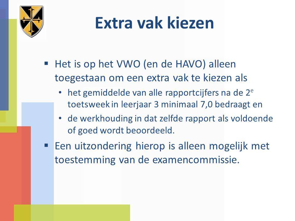 Extra vak kiezen  Het is op het VWO (en de HAVO) alleen toegestaan om een extra vak te kiezen als het gemiddelde van alle rapportcijfers na de 2 e toetsweek in leerjaar 3 minimaal 7,0 bedraagt en de werkhouding in dat zelfde rapport als voldoende of goed wordt beoordeeld.