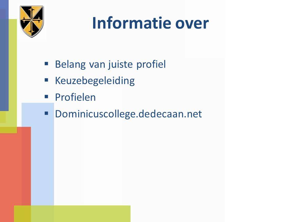 Informatie over  Belang van juiste profiel  Keuzebegeleiding  Profielen  Dominicuscollege.dedecaan.net