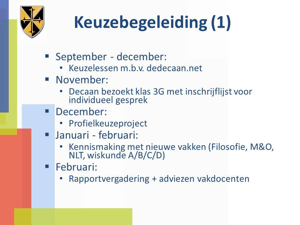 Keuzebegeleiding (2)  Januari - maart: Decaan bezoekt klas 3A en 3G met inschrijflijst voor individueel gesprek Mentor of ouder kan ook gesprek aanvragen voor de leerling bij de decaan.