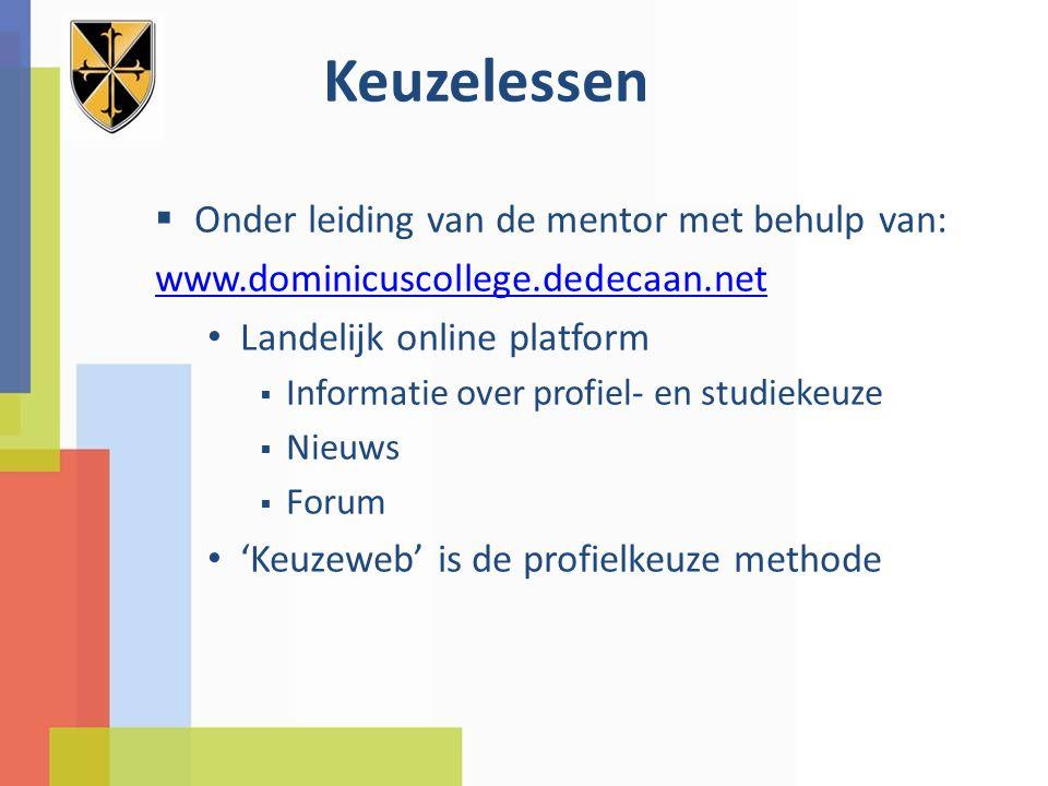 Keuzelessen  Onder leiding van de mentor met behulp van: www.dominicuscollege.dedecaan.net Landelijk online platform  Informatie over profiel- en studiekeuze  Nieuws  Forum 'Keuzeweb' is de profielkeuze methode