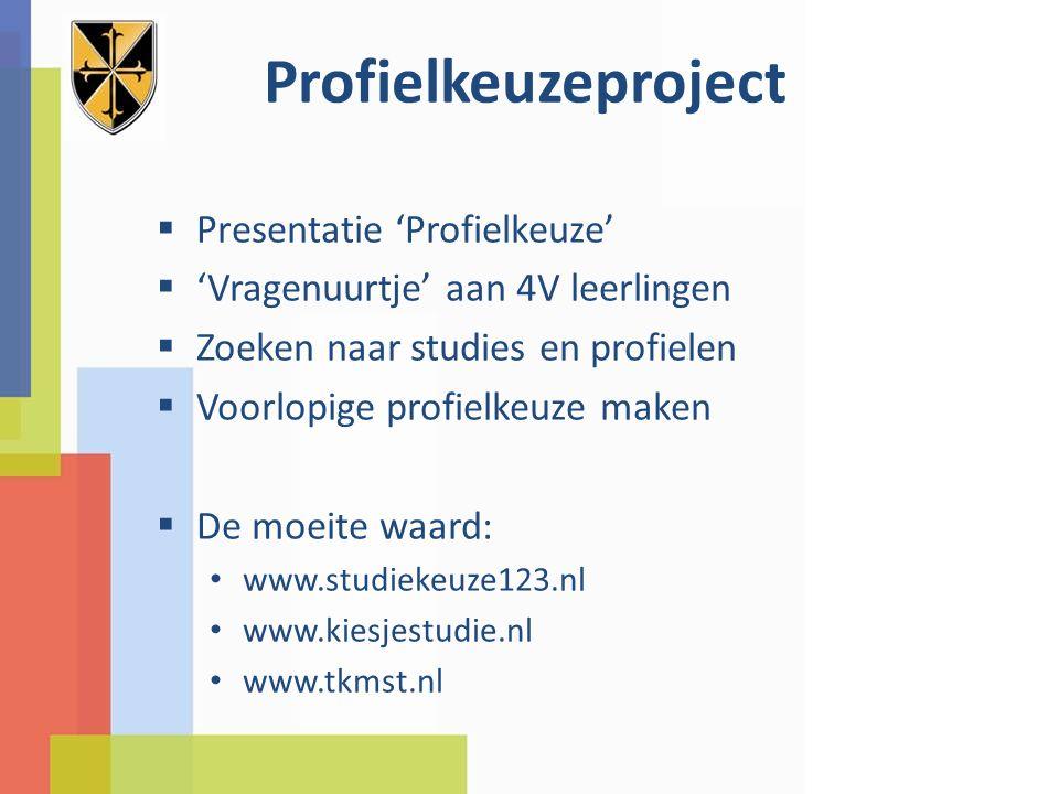 Profielkeuzeproject  Presentatie 'Profielkeuze'  'Vragenuurtje' aan 4V leerlingen  Zoeken naar studies en profielen  Voorlopige profielkeuze maken  De moeite waard: www.studiekeuze123.nl www.kiesjestudie.nl www.tkmst.nl