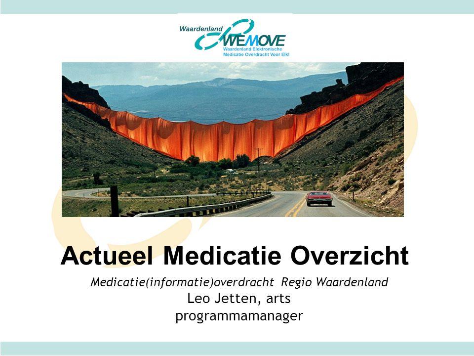 Medicatie(informatie)overdracht Regio Waardenland Leo Jetten, arts programmamanager Actueel Medicatie Overzicht