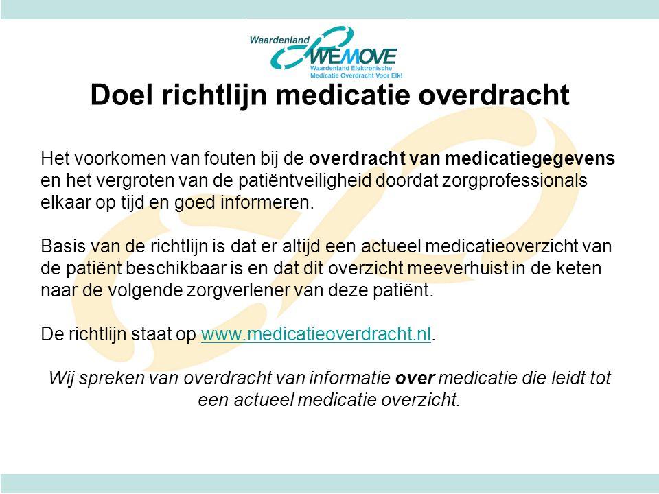Doel richtlijn medicatie overdracht Het voorkomen van fouten bij de overdracht van medicatiegegevens en het vergroten van de patiëntveiligheid doordat