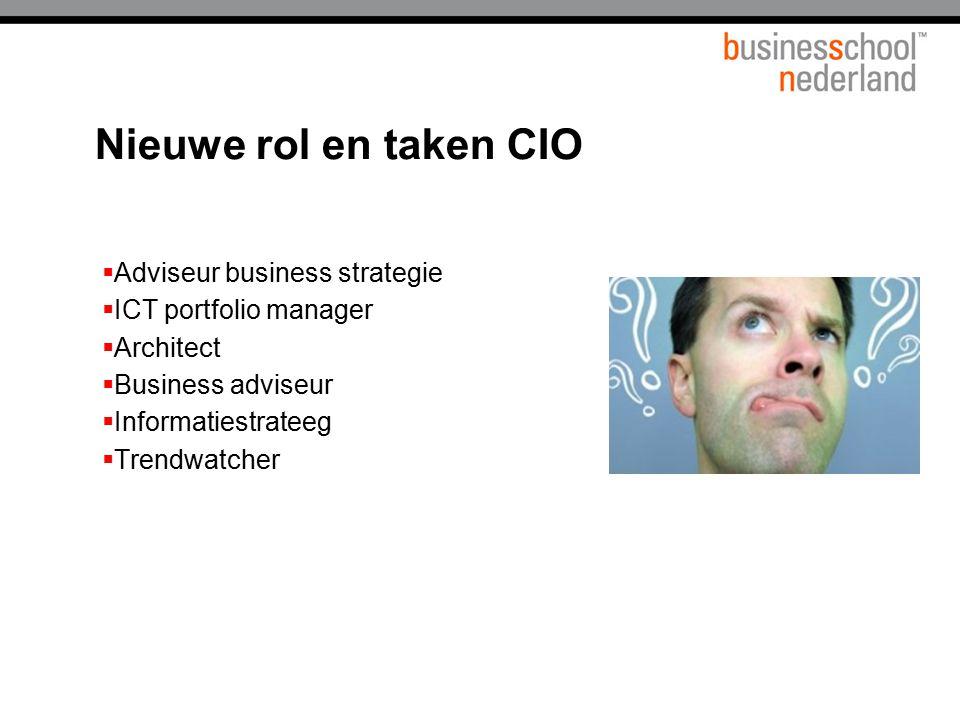 Nieuwe rol en taken CIO  Adviseur business strategie  ICT portfolio manager  Architect  Business adviseur  Informatiestrateeg  Trendwatcher