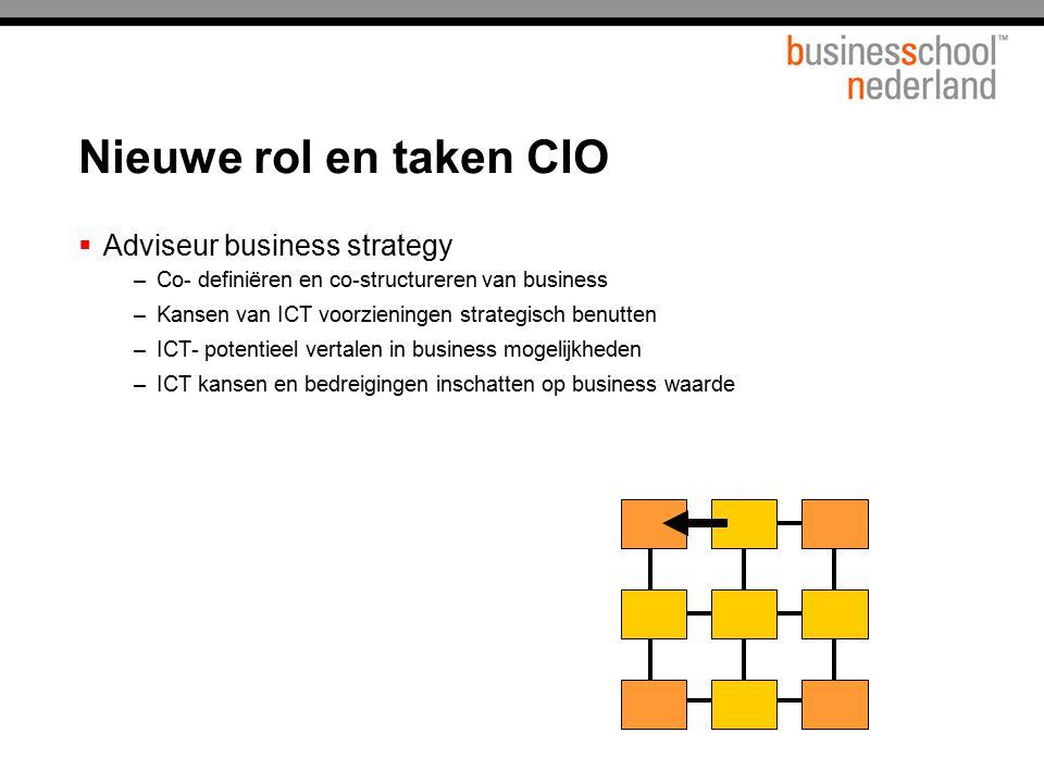  Adviseur business strategy –Co- definiëren en co-structureren van business –Kansen van ICT voorzieningen strategisch benutten –ICT- potentieel verta