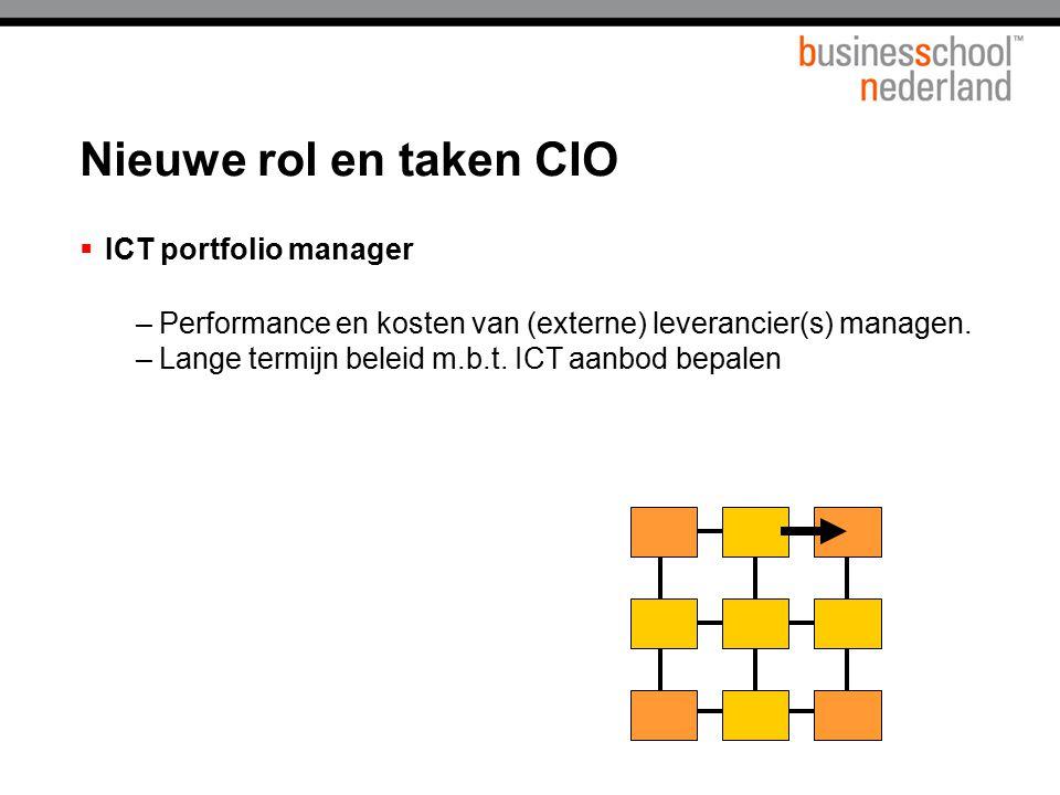  ICT portfolio manager –Performance en kosten van (externe) leverancier(s) managen. –Lange termijn beleid m.b.t. ICT aanbod bepalen Nieuwe rol en tak