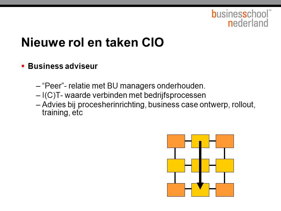 """ Business adviseur –""""Peer""""- relatie met BU managers onderhouden. –I(C)T- waarde verbinden met bedrijfsprocessen –Advies bij procesherinrichting, busi"""