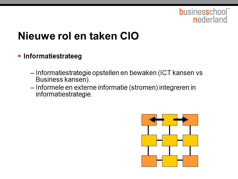  Informatiestrateeg –Informatiestrategie opstellen en bewaken (ICT kansen vs Business kansen). –Informele en externe informatie (stromen) integreren