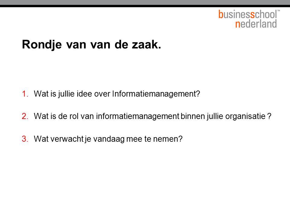 1.Wat is jullie idee over Informatiemanagement? 2.Wat is de rol van informatiemanagement binnen jullie organisatie ? 3.Wat verwacht je vandaag mee te