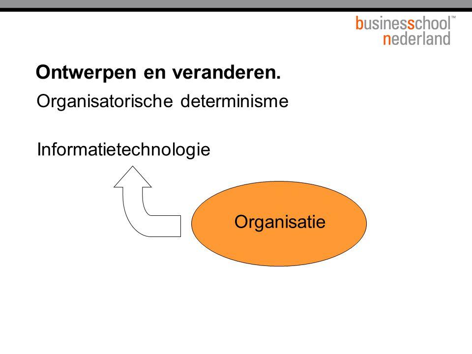 Informatietechnologie Organisatie Organisatorische determinisme Ontwerpen en veranderen.