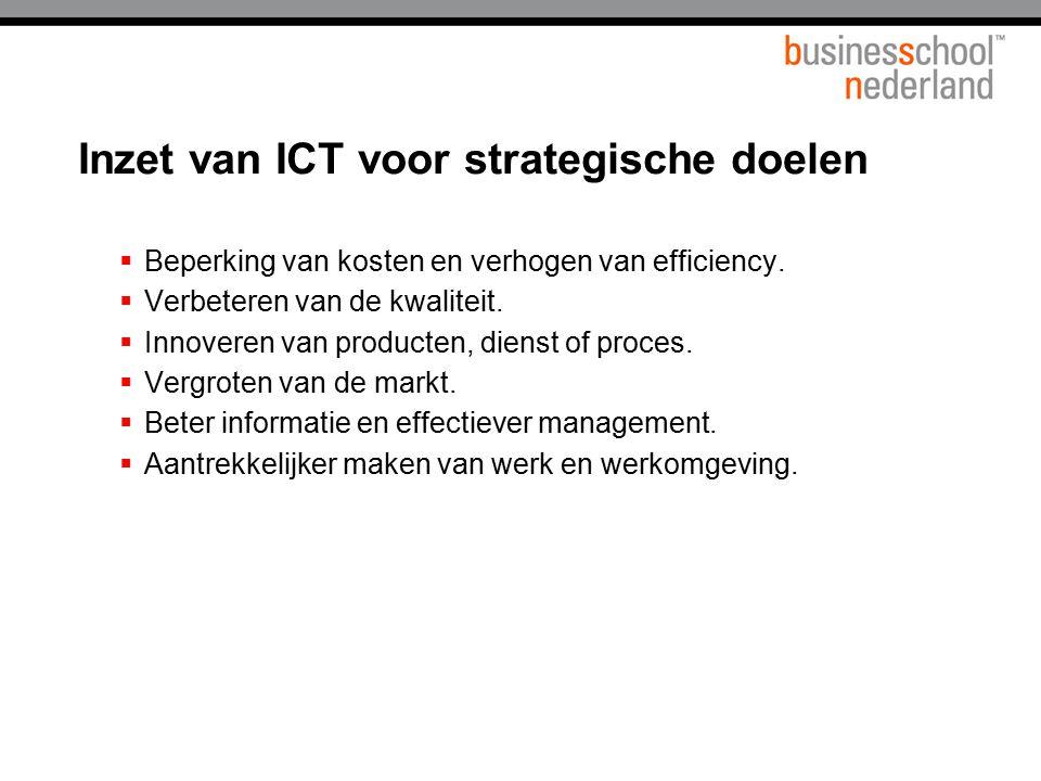 Inzet van ICT voor strategische doelen  Beperking van kosten en verhogen van efficiency.  Verbeteren van de kwaliteit.  Innoveren van producten, di